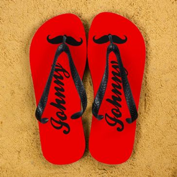 Moustache Style Personalised Flip Flops in Red